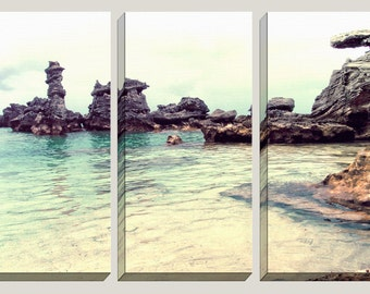 Coastal Decor, Beach Canvas Art, Photography, Rock Formations, Clear Water, Salt Water, Ocean,Turquoise, Caribbean, Triptych, Decorations