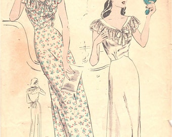 Vogue 5089 1940s Misses Ruffle V Neck Nightgown Pattern Shaped Waistline Womens Vintage Sewing Pattern Size 12 Bust 30