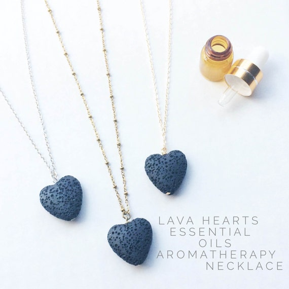 LAVA Rock diffuser jewelry for essential oils - lava heart necklace / aromatherapy jewelry