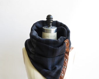 Navy plaid Chunky circular infinity unisex  scarf , men's scarf , women scarf