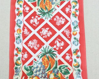 Vintage Towel Bright Fruit & Lattice Pineapples Cherries