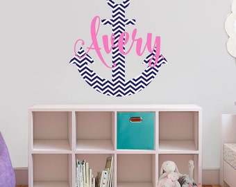name wall decals - chevron anchor and name high quality fabric vinyl decal - choose any colors you like repositionable wall decal