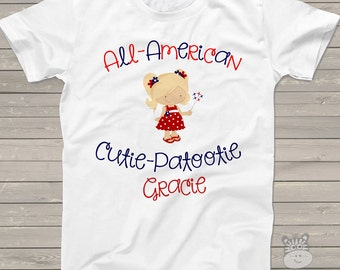 All American cutie girls personalized Tshirt - perfect for July 4th festivities