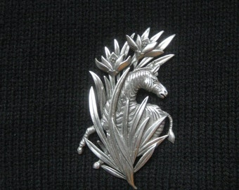JJ Jonette Zebra Pin in Cast Pewter