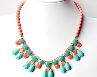 Orange & Turquoise Bib Necklace - Gold Statement Necklace - Multi Color - Peach, Coral, Mint Turquoise Necklace