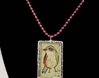 Colorful Birdies Double Sided Soldered Bird Necklace - Free Shipping US -