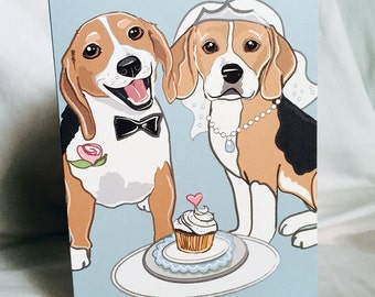 Wedding Beagles - Greeting Card