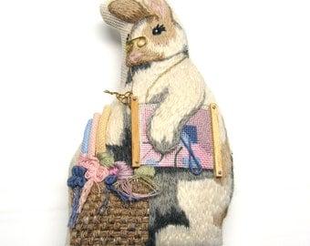 Embroidered Rabbit with needlework basket