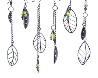 Asymmetric Earring, Silver Leaf Earring, Oxidized Silver Earring,  Statement Earrings, Sterling Silver Nature Jewelry, Long Silver Earrings
