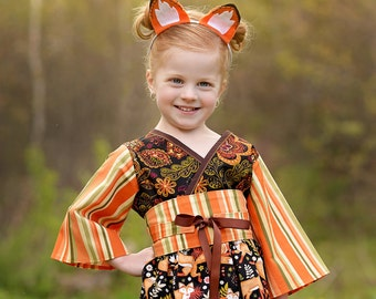 Little Girls Thanksgiving Outfit - Girls Fall Outfit - Back to School - Woodland Animals - Girls Birthday Outfit - Forest - 2T to 7 yrs