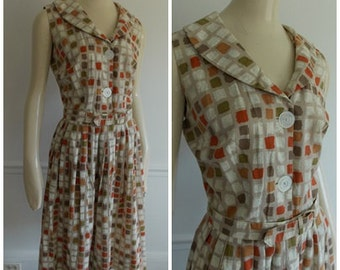 1950s Geometric abstract Dress / Mid Century multi color pleated dress/ modernist summer dress
