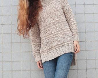 Hand knit oversized sweater wool woman sweater long sweater Wheat pullover sweater