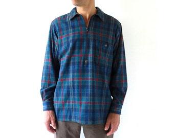 Vintage Pendleton Shirt | Blue Plaid Shirt | Men's Pullover Shirt | Medium M