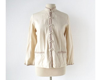 Vintage Chinese Blouse / Silk Noil / Embroidered Blouse / Small S