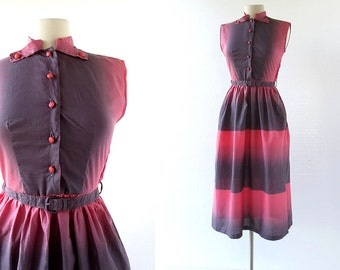 Vintage 1950s Dress / Pink and Gray / Ombre Dress / 50s Cotton Dress / XS