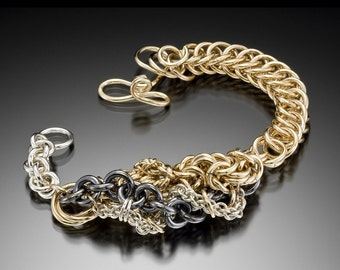 Gold and Silver Chain Link Bracelet Free Form Pattern Custom Order