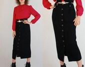 Pencil Skirt Vintage Black Trashbag Waist Wool Rocker Pencil Midi Skirt (s)
