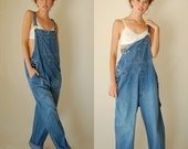 Baggy Jean Overalls Vintage 80s 90s Stonewashed Cotton Denim Oversized Slouchy Baggy Overalls (m l xl)