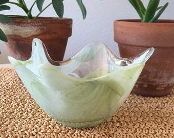 Wavy Green Glass Bowl