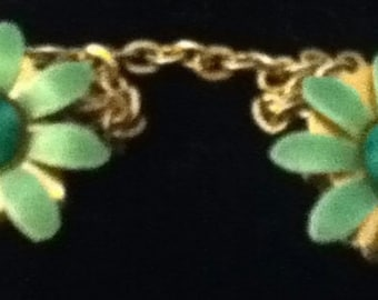 Green Enamel Gold Sweater Clip, Vintage