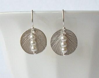 White Pearl Circle Dangle Earrings