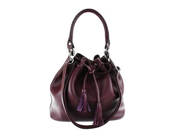 Purple Leather Bag, Leather Shoulder Bag, Drawstring Bag,Handbag, artoncrafts