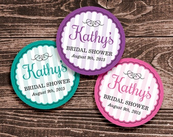 Personalized Bridal Shower Cupcake Toppers, Favor Tags or Stickers – 2, 2.5 or 3 Inch Circles – DIY Printable (Digital File)