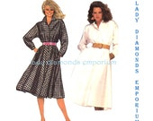 McCalls 9019 Womens Long Sleeve Shirt Dress w Flared Skirt size 16 Bust 38 Vintage 80's Plus Size Sewing Pattern Uncut