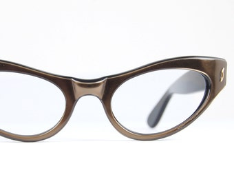 Vintage 50s Cat Eye Sun/eyeglasses Wrap Hinges METALLIC Brown Bronze  Bold Thick Optical Frame 48/18