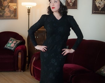 Vintage 1930s Dress - Stylish Black Rayon Crepe with Patterned Ribbon Polka Dots 30s Dress with Peaked Shoulders