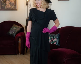 Vintage 1940s Dress - Stylish Black Rayon Layered Peplums 40s Dress with Bands of Glossy Buttons