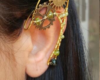 Steampunk ear cuff peridot  gemstones clock gears, Elf Ears, Elvish, Elven Ears, Pixie Ears, Fairy Ears, Steampunk Ears