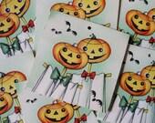 Jack O'Lantern Scarecrow Bridge Tallys, Halloween Ephemera, Vintage Halloween Cards, Gibson Bridge Tallys, Pumpkins, Craft Supplies
