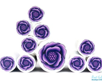 Purple Violett Lilac Polymer clay Rose Flower cane , raw and unbaked polymer clay millefiori Fimo cane by Ronit Golan - RVC