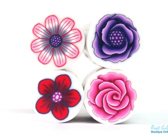 4 Canes collection set, Purple, Red & Pink Polymer clay Flower canes, raw and unbaked polymer clay millefiori Fimo cane by Ronit Golan - RVC