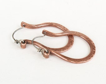 Hammered Copper Hoop Earrings - Forged Earrings - 7th Anniversary Gift Idea For Her - Artisan Earrings - Copper and Sterling Silver Earrings