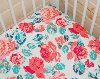 floral crib sheet- floral baby bedding- fitted crib sheet / mini crib sheet/ floral changing pad cover