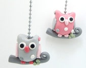 ONE Owl Ceiling Fan Pull - Owl Nursery - Children's Woodland Themed Room Decor -  Pink, Gray, and White Polka Dot - Polymer Clay
