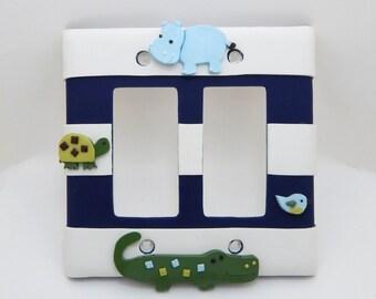 Alligator, Hippo, Turtle Light Switch or Outlet Cover - Childrens Crocodile Room Decor -  Alligator Nursery - Jungle, Safari - Polymer Clay