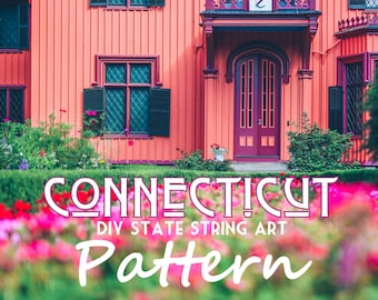 "Connecticut - DIY State String Art Pattern - 8"" x 10.5"" - Hearts & Stars included"