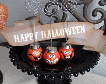 Photo Holder, Halloween Jack-O-Lantern with Purple Eyes and a Giant Grin, by Stacy Marie