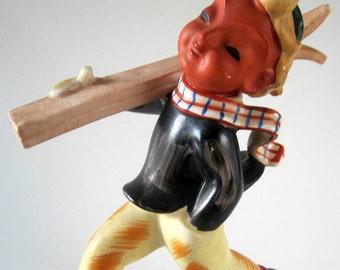 Little Boy Carrying Skis Porcelain Figurine Vintage Japan Garden Art Pottery Child
