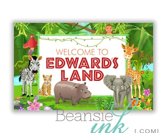 JUNGLE Printable Party  Backdrop  - You Print up to 8ft x 5ft