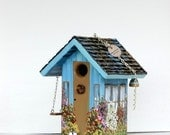 Birdhouse, Turquoise and with a Swing with a Clean Out