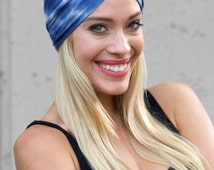 Tie Dye Turban Headband Women Turban Headscarf Shibori Pattern Hair Wrap Boho Print Turban Print Turban Headband Gift For Her Blue Headwrap
