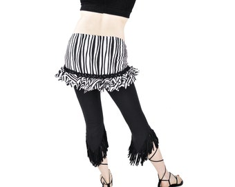Belly Dance Hip Scarf  Hip Wrap - Black and White Wavy Stripe - tribal fusion