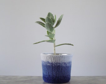 felted succulent planter - small plant pot with waterproof lining - textural planter - shades of sky blue, royal blue, and dark blue