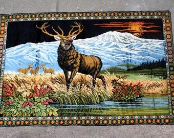 """Vintage Italian Made Deer Motif Wall Hanging Rug Tapestry 48"""" x 75"""""""