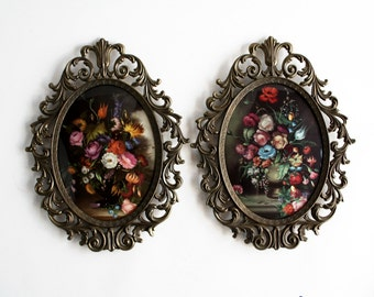 Vintage Pair (2) of 1970's Italian Framed Floral Print Dome Glass Wall Hangings