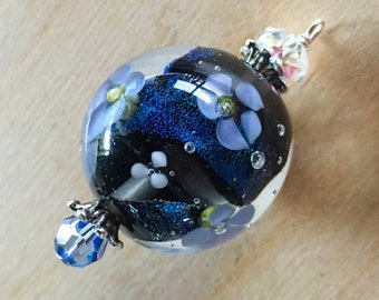 Sparkling Blue Encased Floral Focal